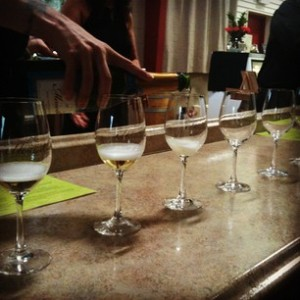 Sparkling wine tasters at Domaine Meriwether